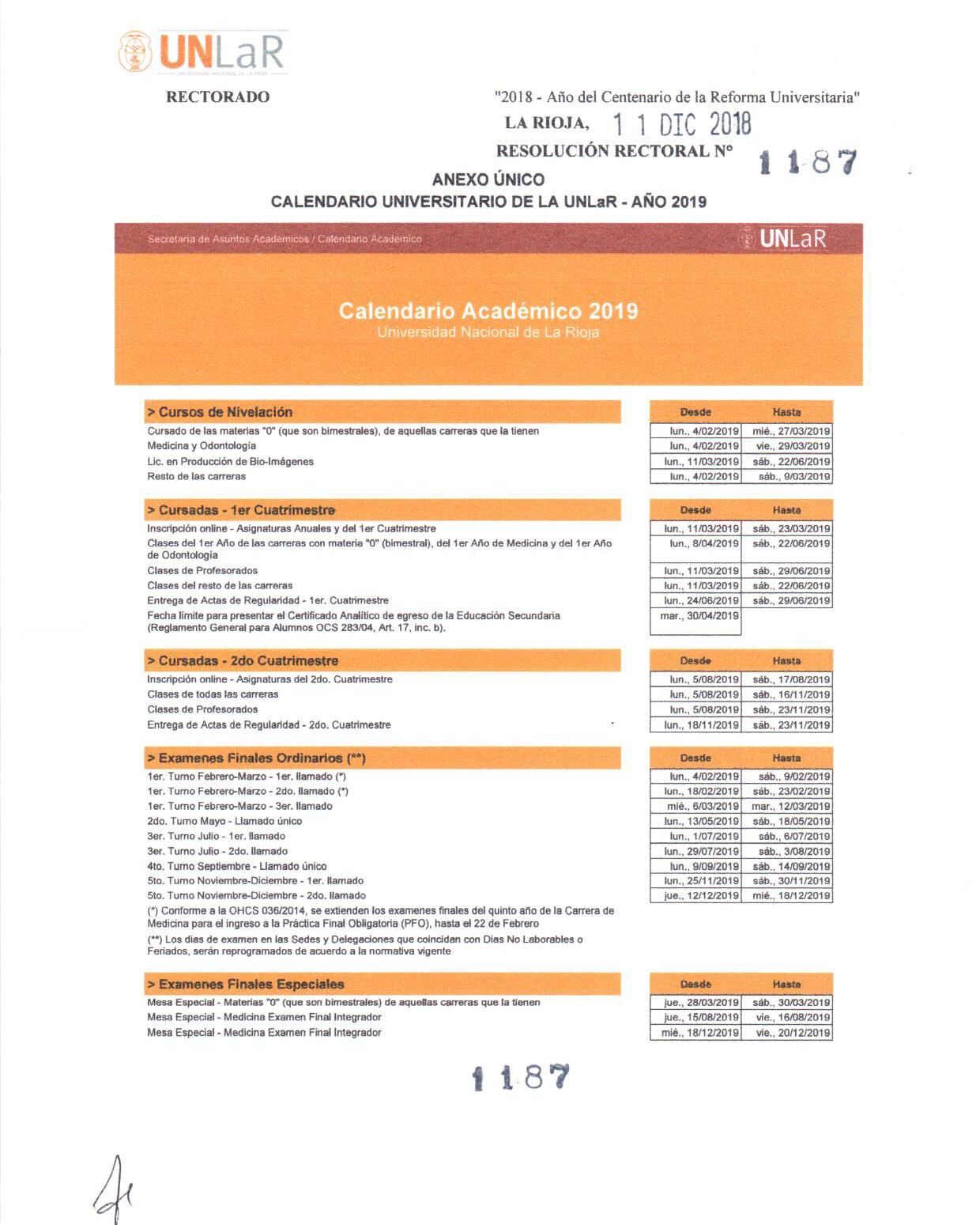 Calendario Final 2019.Universidad Nacional De La Rioja